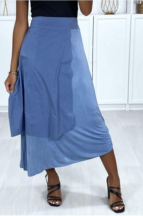 2 in 1 rok in indigoblauw met plooitjes aan de zijkant