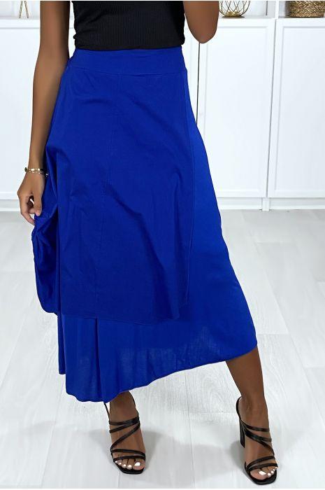 2 in 1 rok in koningsblauw met plooitjes aan de zijkant