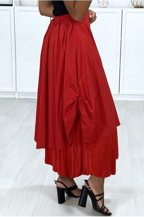 2 in 1 rok in rood met plooitjes aan de zijkant