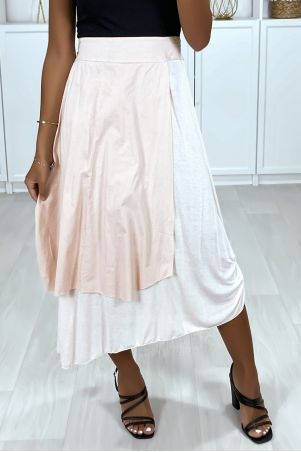 2 in 1 skirt in pink with gathers on the side