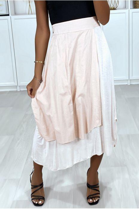 Roze 2 in 1 rok met plooitjes aan de zijkant