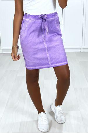 Lila gewassen katoenen rok met strass-zakken