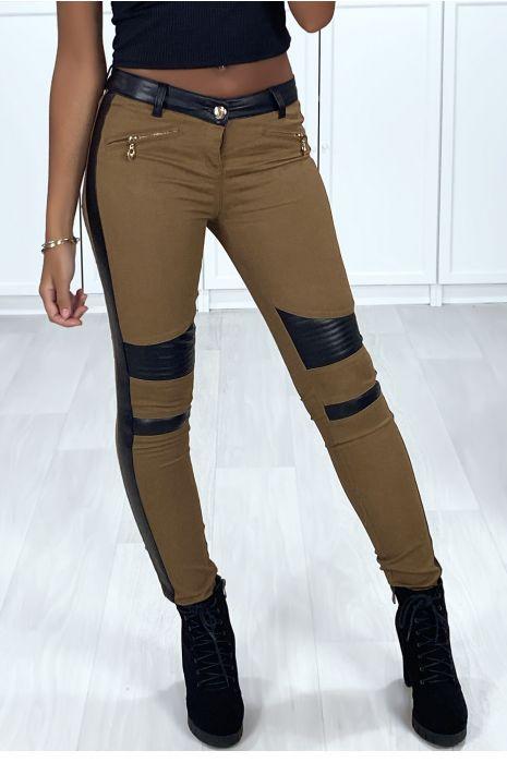 Pantalon slim camel avec bandes en simili