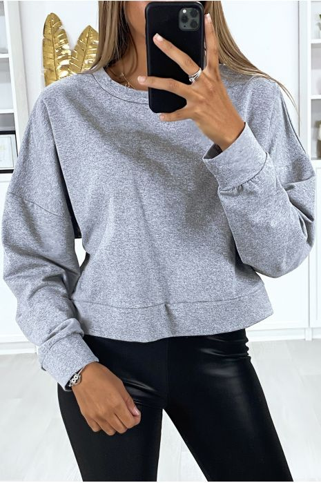 Sweat gris chiné over size