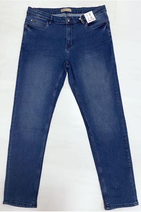 Zeer rekbare blauwe jeans in grote maten