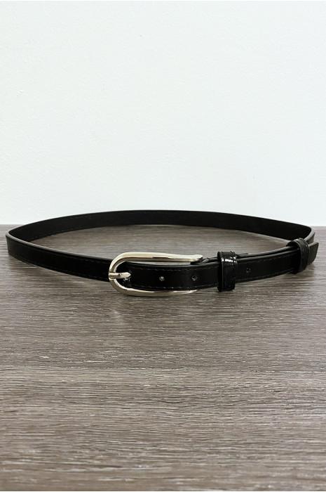 Fine ceinture noir brillant avec boucle argenté