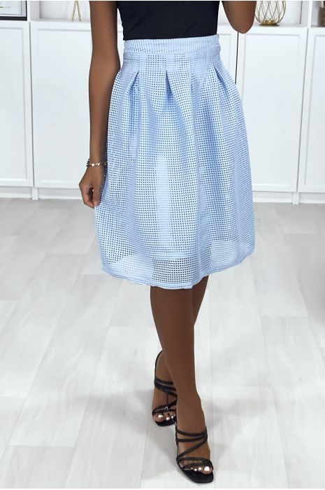 Jupe 3/4 bleu doublé avec plis à la taille