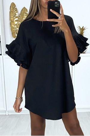 Zwarte oversized tuniekjurk met geplooide mouwen