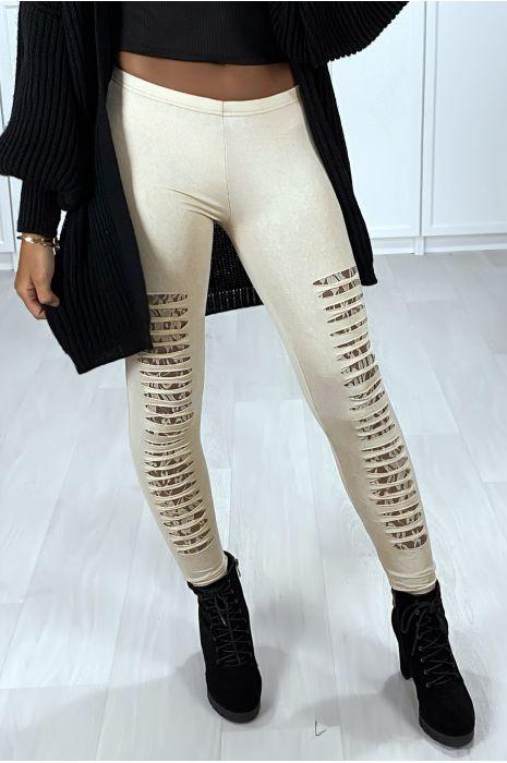 Beige legging met taps toelopende voorkant en kanten voering