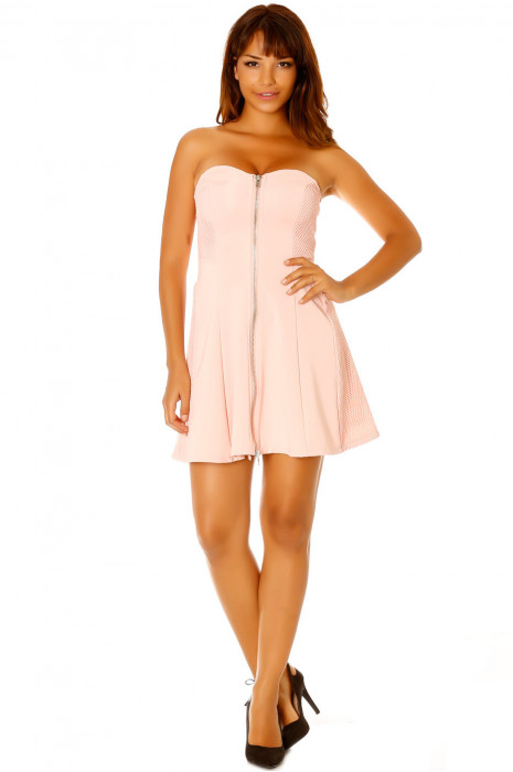 Pink strapless dress, zip on the center front. Female LC-0156