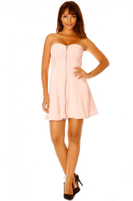 Roze strapless jurk, ritssluiting middenvoor. Vrouw LC-0156