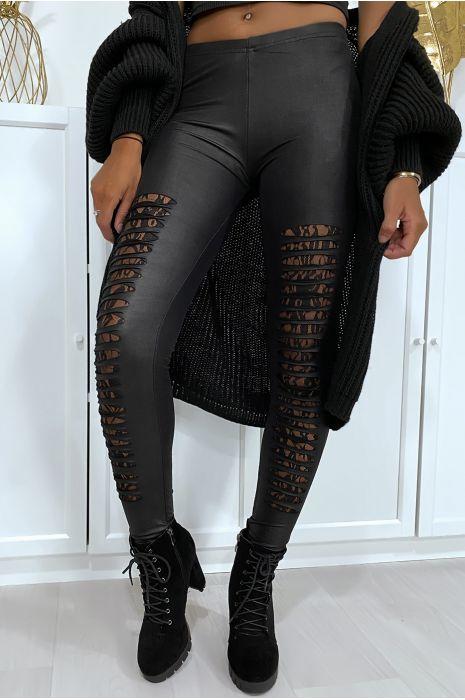 Zwarte legging met taps toelopende voorkant en kanten voering