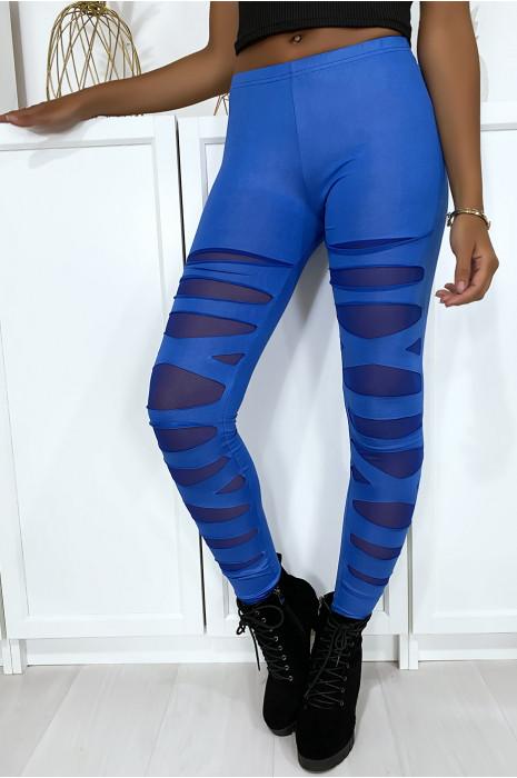 Legging bleu avec joli motif coupé et doublé en résille