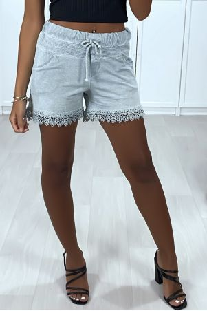Gray washed cotton shorts with lace