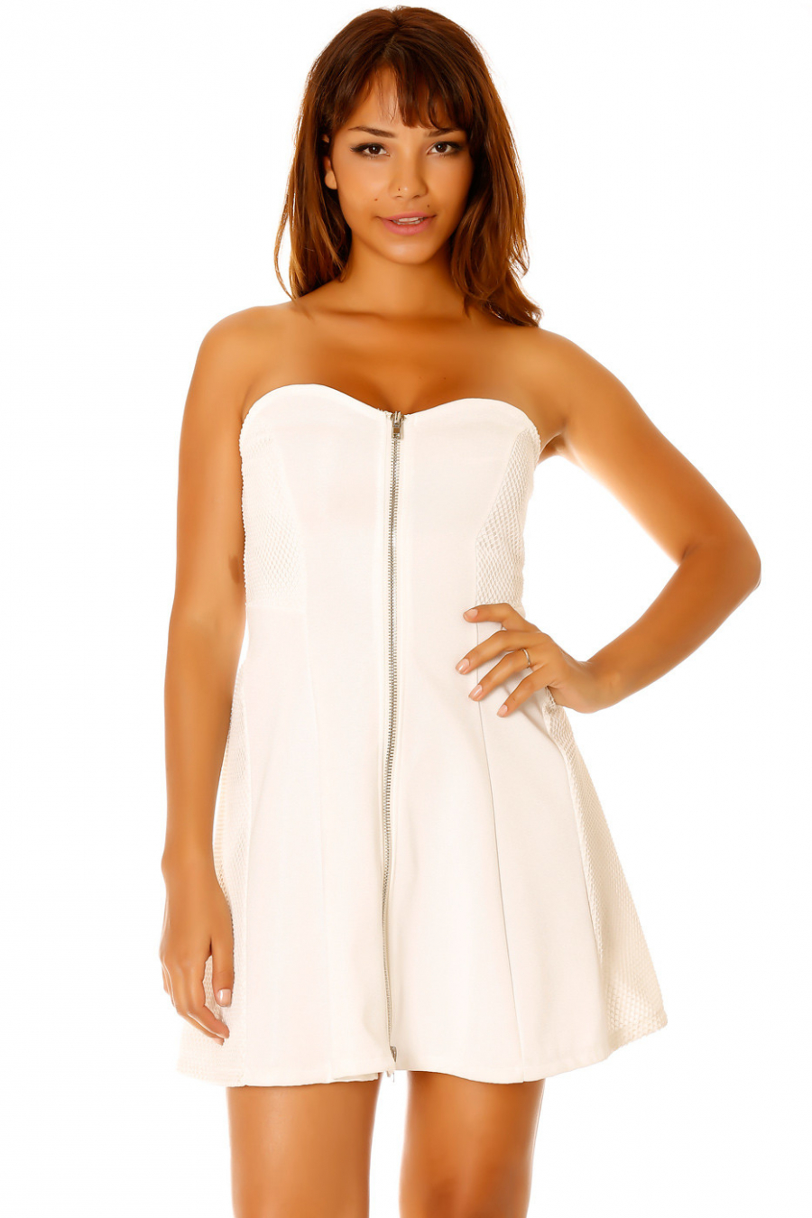 White strapless dress, zip on the center front. Female LC-0156