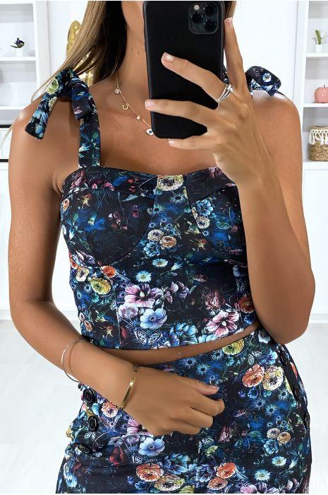 Bustier motif fleuris noir avec noeud aux bretelles