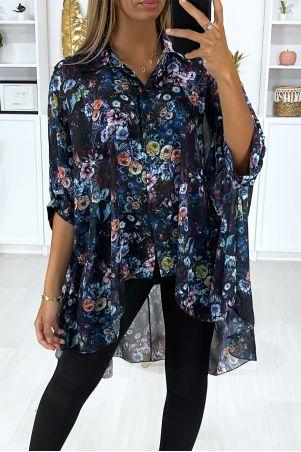 Zwart oversized crêpe overhemd met bloemenprint