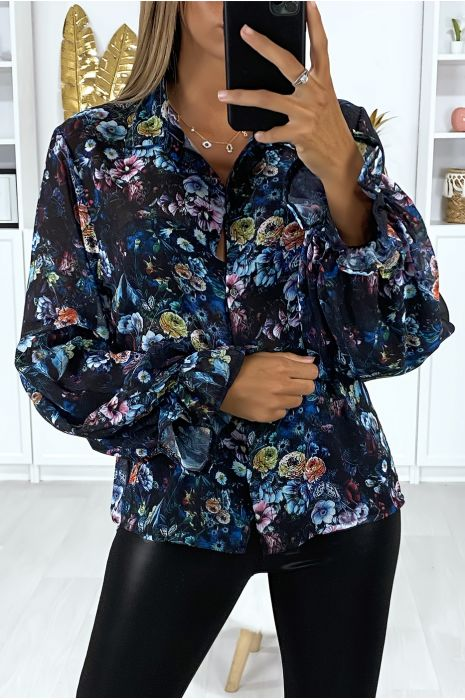 Chemise noir en crêpe motif fleuris manches bouffante