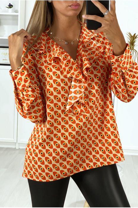 Oranje dessin blouse met ruches aan de voorzijde