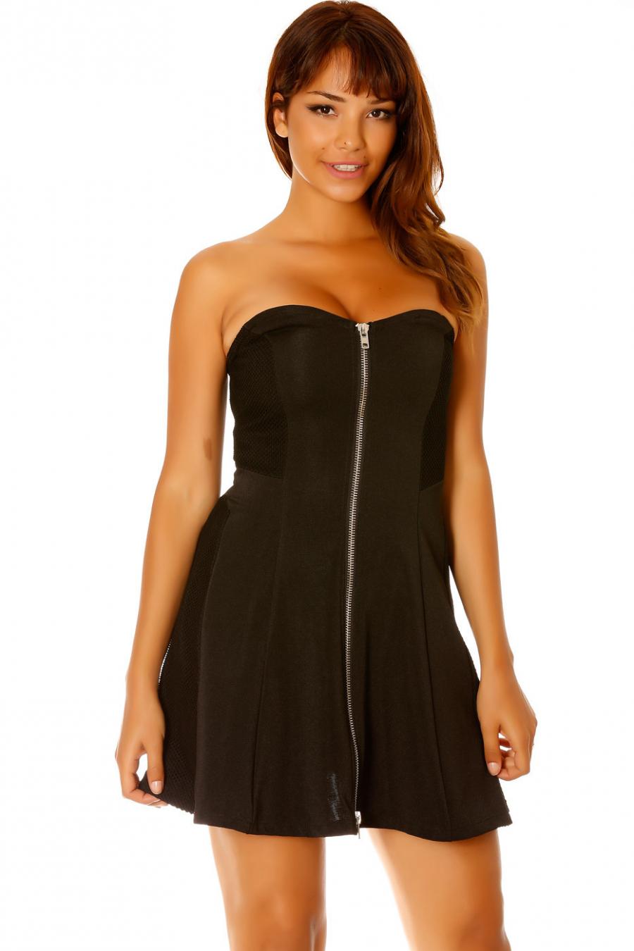 Robe bustier noir, zip sur le milieu devant. Femme LC-0156