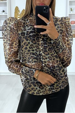 Camelkleurig voile overhemd met pofmouwen en luipaarddessin
