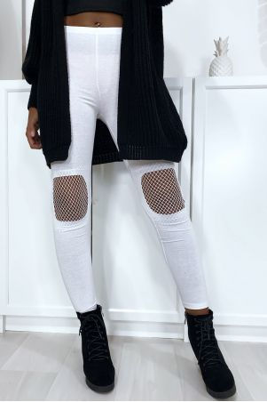 White leggings with mesh at the knees