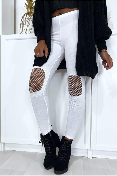 Legging blanc avec résille aux genoux
