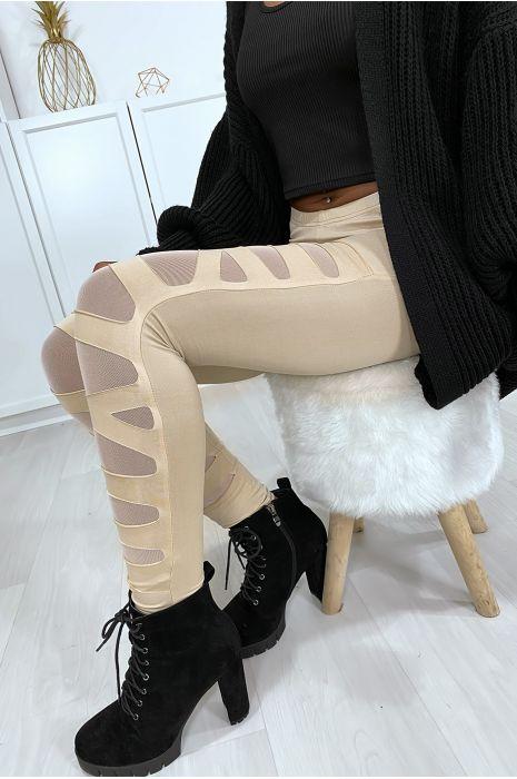 Beige legging met mooi patroon gesneden en gevoerd met mesh