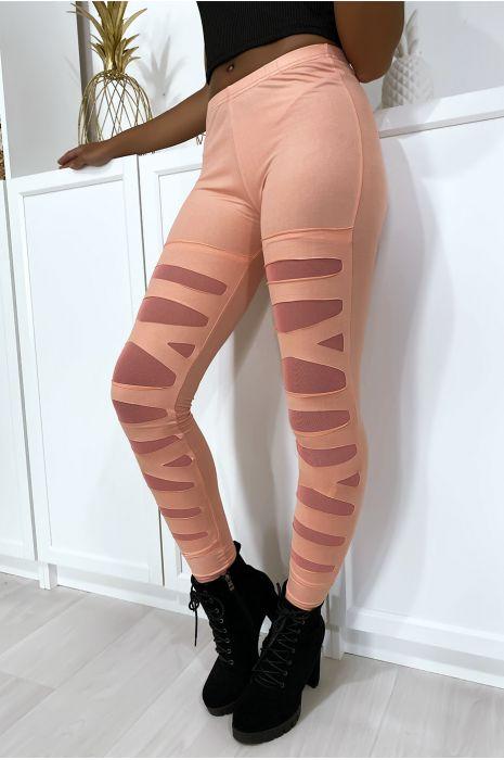 Legging rose avec joli motif coupé et doublé en résille