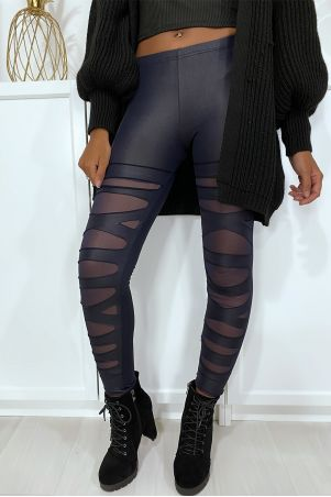 Navy leggings with pretty cut pattern and mesh lining