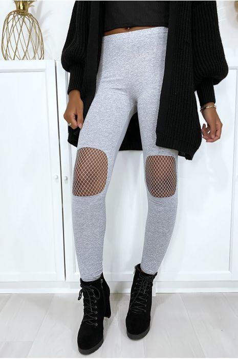 Legging gris avec résille aux genoux