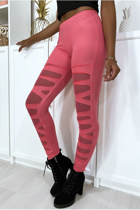 Fuchsia legging met mooi gesneden patroon en mesh voering