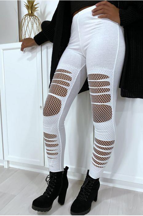 Legging blanc en coton déchiré à l'avant avec résilles aux genoux