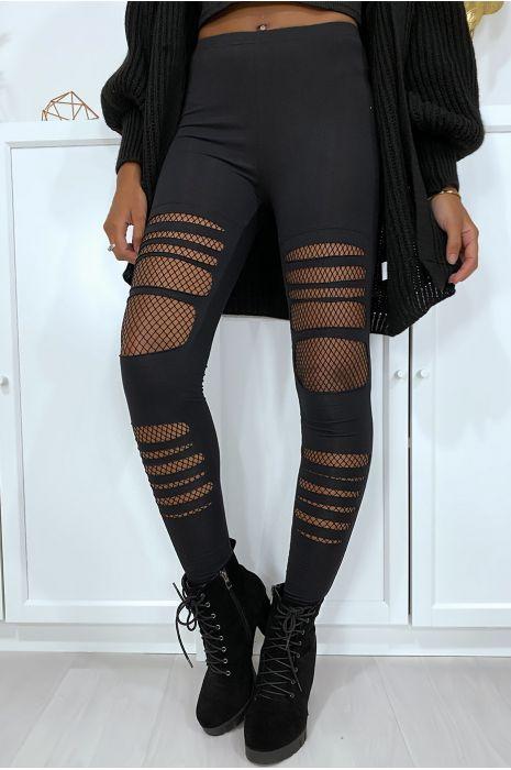 Legging noir avec résille aux genoux