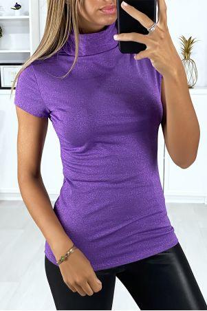 Tee-shirt col roulé et brillant en lila clair
