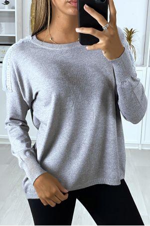 Pull gris over-size très doux avec fourrure synthétique aux épaules