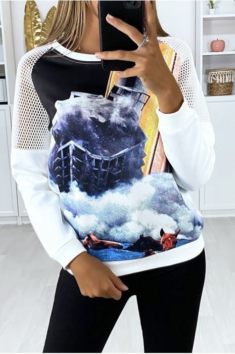 White sweatshirt with transparent shoulders and motif on the front