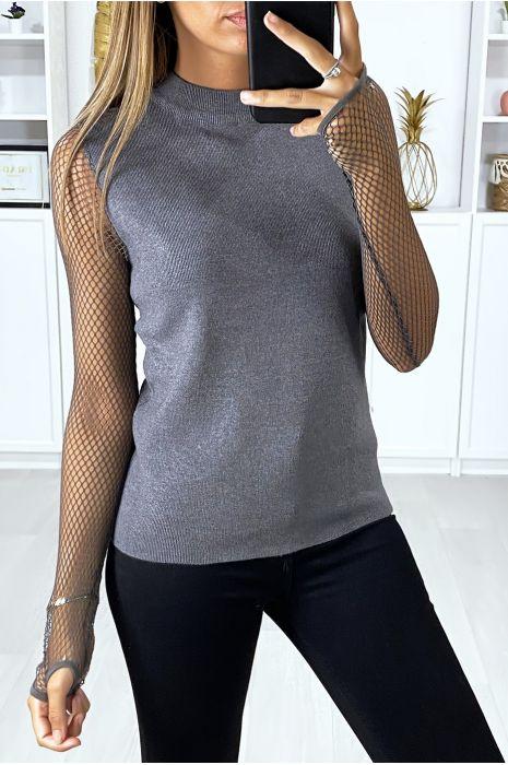 Pull gris très doux et extensible avec manches en résille