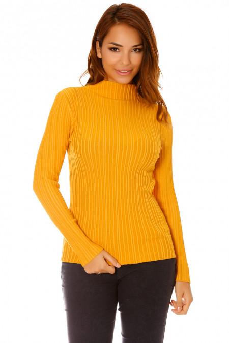 Mustard ribbed knit sweater, high collar. F920