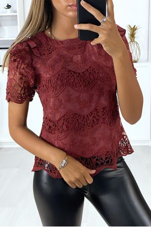 Black lace blouse with puffed ruffle sleeves and bow