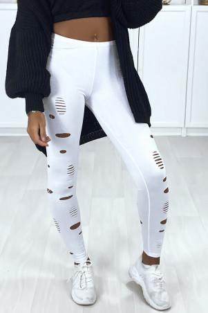 Witte legging met glanzende en rekbare stof die aan de voor- en achterzijde taps toeloopt
