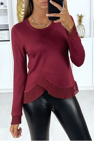 Very stretchy burgundy sweater with crossed pleats at the waist and sleeves