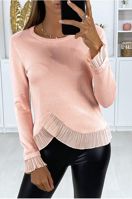 Pull rose très extensible avec plissé croisé à la taille et aux manches