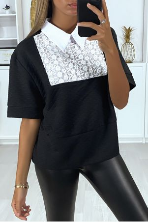 Quilted black blouse with lace at the bust and shirt collar