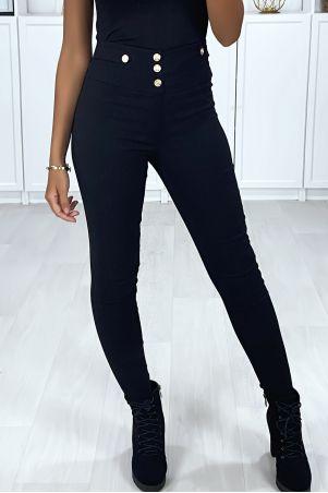 Zwarte stretch slim broek met gouden knopen op de voor- en achterzakken
