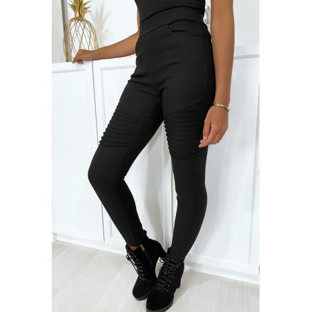 Pantalon slim en stretch noir avec plis style motard aux genoux