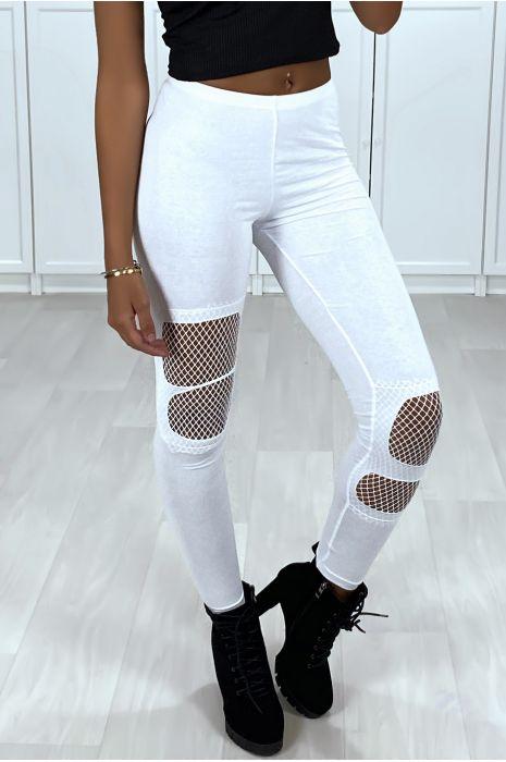 Legging blanc en coton déchiré à l'avant avec résille à l'intérieur