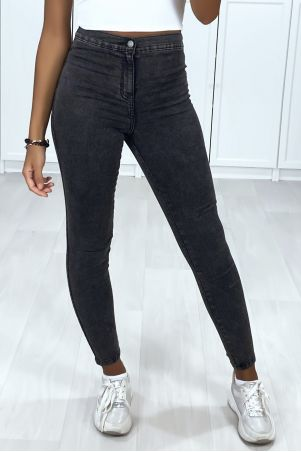 Faded black high waist jeans with back pockets