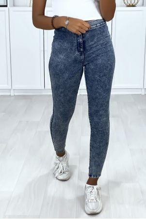 Jeans bleu taille haute avec poches arrière