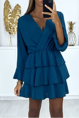 Long-sleeved crossover duck dress with flounce at the bottom